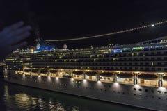 MSC cruise at night, Barcelona Royalty Free Stock Photo