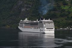 MSC Cruise ship in Flaam Norway Royalty Free Stock Photography