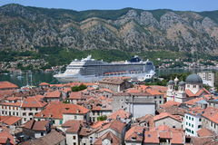 MSC cruise ship moored at the pier. Kotor. Montenegro royalty free stock image