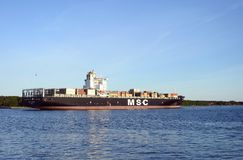 MSC EMERALD ship in Klaipeda town port, Lithuania Royalty Free Stock Images