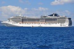 MSC Fantasia. Cruise ship near island of Santorini, Greece Royalty Free Stock Image