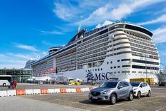 MSC Fantasia. Kiel, Germany - September 2, 2017: The cruise ship MSC Fantasia at the harbor of Kiel Stock Photos