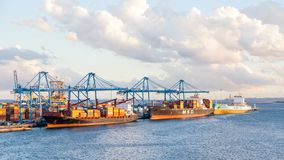 MSC and Maersk Container Ships. Are pictured docked in port Las Palmas de Gran Canaria, Spain Stock Photos