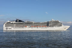 MSC Magnifica on the river Elbe Royalty Free Stock Images