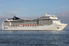 MSC Magnifica on the river Elbe Royalty Free Stock Photography