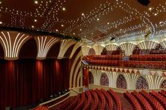 MSC Musica游轮的空的剧院 库存照片