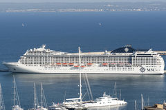 MSC Musica cruise ship. Docked in Palma de Mallorca, Spain. The MSC Musica is the first Musica-class cruise ship built in 2006 and operated by MSC Cruises. The stock image