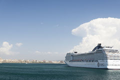 MSC Musica cruise ship. In the port of Palma de Mallorca, Spain. The MSC Musica is the first Musica-class cruise ship built in 2006 and operated by MSC Cruises stock photography