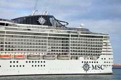 MSC Preziosa on sea. A close up of a MSC Preziosa on the sea Royalty Free Stock Photo