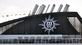 MSC ship funnel. MSC cruise ship brand funnel Royalty Free Stock Image