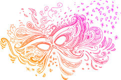 Máscara esboçado do carnaval do doodle Fotos de Stock Royalty Free