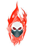 Máscara protectora del cráneo contra un contexto de llamas Imágenes de archivo libres de regalías