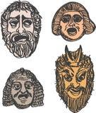 Máscaras clásicas del drama del griego clásico Imágenes de archivo libres de regalías