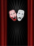 Máscaras de la comedia y de la tragedia del teatro y backgro negro Imagen de archivo libre de regalías