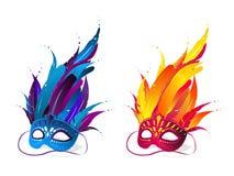 Máscaras de la hierba de Mardi Fotografía de archivo