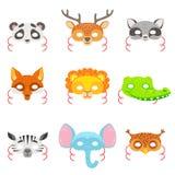 Máscaras de papel animais ajustadas dos ícones Fotos de Stock