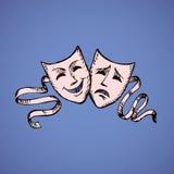 Máscaras del theatrical de la comedia y de la tragedia Ilustración del vector Imagen de archivo