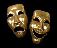 Máscaras do drama e da comédia Fotos de Stock Royalty Free