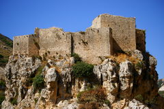 Mseilha Crusader Fort, Batroun, Lebanon. Crusader Fort of Mseilha, aka Puy du Connetable, built by the Crusaders in the 13th century and overlooks Nahr el Jawz Stock Image