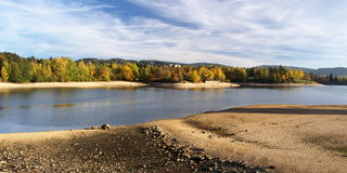 Mseno Reservoir in autumn, Jablonec nad Nisou. A panorama view on autumn Mseno Reservoir in Jablonec nad Nisou Royalty Free Stock Image