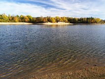 Mseno Reservoir in windy autumn, Jablonec nad Nisou. Waved surface of autumn Mseno Reservoir in Jablonec nad Nisou Royalty Free Stock Images