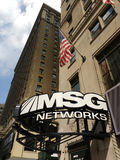MSG Networks, American Sports Channel, NYC, USA. MSG Networks marquee located on the corner of 7th Avenue and West 32nd Street. Above the marquee, an American Royalty Free Stock Images