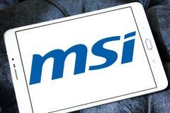 Msi logo. Logo of computer company msi on samsung tablet stock images