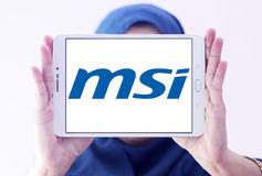 Msi logo. Logo of computer company msi on samsung tablet holded by arab muslim woman royalty free stock images