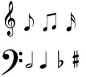 A música anota símbolos Foto de Stock Royalty Free