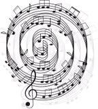 Música. Clef agudo y notas para su diseño Fotos de archivo libres de regalías