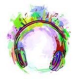 Música colorida dos fones de ouvido Fotografia de Stock Royalty Free