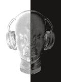 Música del concepto Un vector abstracto para la música que escucha del hombre con los auriculares Diseño artístico del esquema Il Fotos de archivo libres de regalías