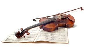 Música del violín y de hoja Imagen de archivo libre de regalías