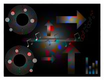 Música, fondo temático del diseño del disco Fotografía de archivo libre de regalías