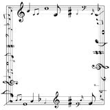 A música nota a beira Imagens de Stock Royalty Free