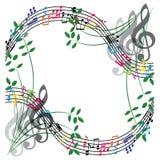 A música nota a composição, fundo do tema musical, illust do vetor Fotos de Stock