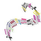A música nota o fundo, composição do tema musical Imagens de Stock Royalty Free