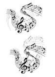 A música nota ondas e composições Fotos de Stock