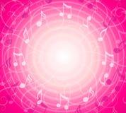 A música radial anota o fundo cor-de-rosa Imagens de Stock