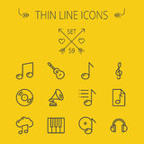 Música y línea fina sistema del entretenimiento del icono Imagen de archivo