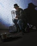 Músico da rua de Chicago Fotos de Stock Royalty Free