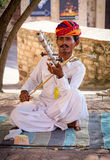 Músico indiano no vestido tradicional que joga instrumentos musicais Fotografia de Stock Royalty Free