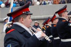 Músicos de la orquesta - trompetistas Fotos de archivo