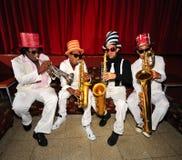 Músicos Funky, instrumentos de vento Fotografia de Stock Royalty Free