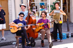 Músicos reales de la calle de New Orleans Imágenes de archivo libres de regalías
