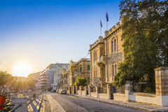 Msida, Malta - Beautiful sunset at the old streets of Msida. The central city of Malta with blue sky Stock Photo