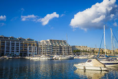 Msida, Malta - Jacht marina at Msida with blue sky and clouds. On a beautiful summer day Stock Photo