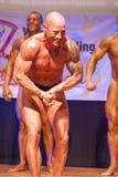 Męski bodybuilder napina jego mięśnie i pokazuje jego najlepszy budowę ciała Obrazy Royalty Free