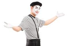 Męski mima tancerz gestykuluje z rękami Obrazy Stock