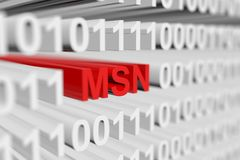 MSN. As a binary code with blurred background 3D illustration Royalty Free Stock Photography